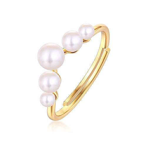 gyx Damen Ring, 925Er Sterling Silber Eingelegter SüßWasser Perlen Ring, Galvanisieren von 9 Karat Gold, Verstellbare MundgrößE, Perlen GrößE 4,5-5/3,5-4/2,5-3 mm (5 Größe Opal Ring)