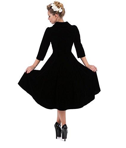 3067 H&R Cœurs et Roses London 50's Glamorous Velours Robe Noir