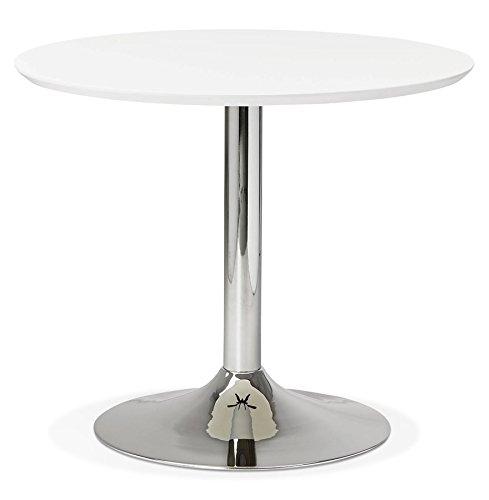 Alterego Petite Table de Bureau/à Diner Ronde 'Kitchen' Blanche - Ø 90 cm