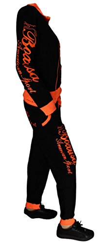 Survêtement BOXUSA pour Femme sweat capuche hoody entrainement gym pantalon sport Noir Orange neon