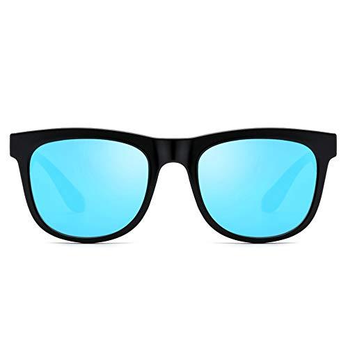 TR90 Polarized Retro Hipster Sonnenbrillen Männer und Frauen mit dem gleichen Absatz HD Sonnenbrille Brille (Farbe : Black Frame Blue Piece, Größe : Free)