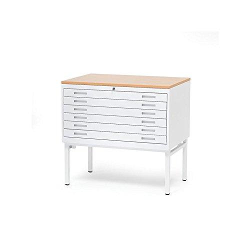 AJ Produkter AB 105732 Planschrank DIN A1 mit 6 Laden, Stahl Weiß, Top: Buche