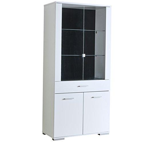 Demeyere 'Icy 2para Puerta/1cajones/2Puerta de Cristal Unidad de Pantalla, Madera, Blanco Perla/Blanco Brillante