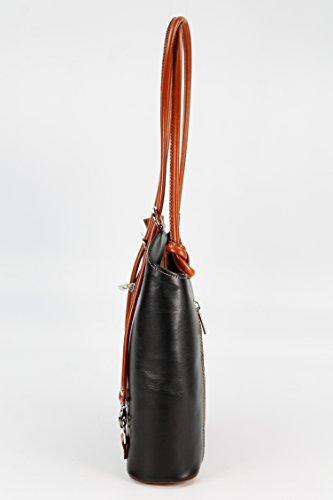 Belli, Borsa a zainetto donna Multicolore multicolore 28x28x8 cm (B x H x T) schwarz cognac