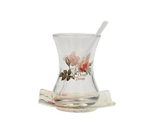 ORNATE VINTAGE 18-teiliges Design Tee-Set aus hochwertigem Glas für Heissgetränke – orientalische türkische Teegläser-Set | cay bardagi – Untertassen quadratisch