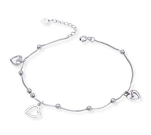 Beglie Damen Fußkettchen 925 Sterling Silber Hohles Herz Knöchel Fußkettchen Silber Geschenk für Damen