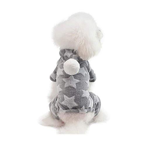 Muster Kostüm Rüstung - IF.HLMF Haustier-Kleidung, niedliches Stern-Muster, vierbeiniger Schlafanzug, aus Baumwollsamt, warme Kleidung, geeignet für kleine und mittelgroße Hunde, Grau, XXL