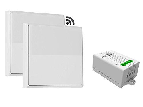codalux Funkschalter / Lichtschalter SET 2x E-Serie Wippe 1 Taste weiss + 1-Kanal Empfänger 5A 433 MHz - kinetischer Funklichtschalter ohne Batterie - batterielos / piezo mit 5 Jahren Garantie -