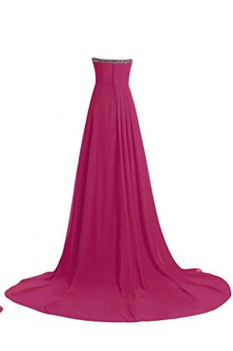 Sunvary elegante Chiffon abito da sera lungo senza spalline Pageant abito elegante rosa fucsia
