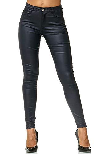 EGOMAXX Damen Treggings Hose Leder Optik Kunstleder Hose Skinny Stretch Röhre D2476, Farben:Blau, Größe Damen:36 -