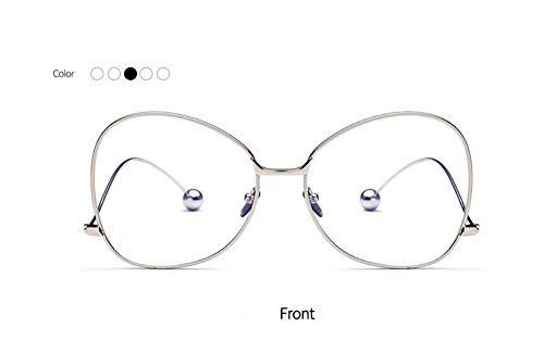 zywddp Big Box Fashion Flat Mirror, Ladies Student wild Decorative Glasses, Silver Frame