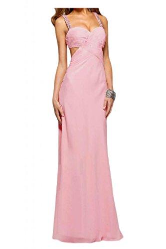 Toscana sposa sera mode Chiffon Rueckenfrei sera vestimento un'ampia Party Ball Bete extra lungo Rosa