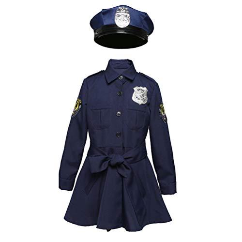NUOBESTY Halloween Kinder Mädchen Polizeirock Kinder Rollenspiel Polizeiuniform für Halloween Maskerade (Größe S / Anzug für 110-120cm, - Einfache Kostüm Für Teenager Mädchen