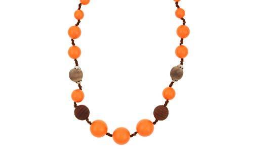 Behave® Damen Runde Perlen Perlenkette mit Spitze aus Kunststoff - Orange - 64cm Größe