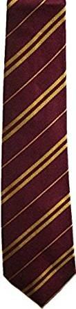 (Wardah Limited Wizard Tie Schuluniform, gestreift, 3 Größen, Kastanienbraun/goldfarben, Acryl, grau, Regular)