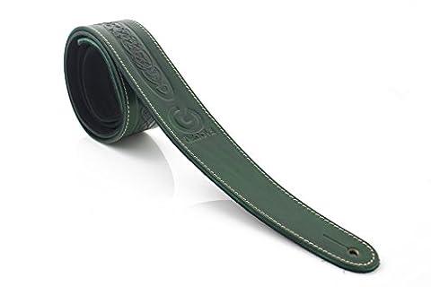 Fabriqué au Royaume-Uni en cuir véritable motif nœud celtique irlandais style 5,1cm Largeur sangle de guitare avec longueur réglable vert