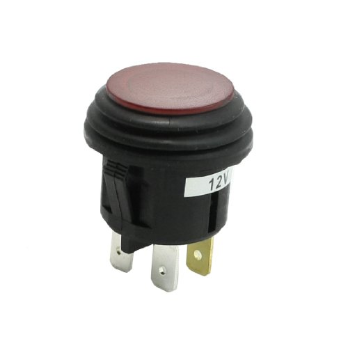 Aexit DC 12V 20A Red Light Markierung Lampe SPST Flat Top Car Push Button Switch - Push-button Light