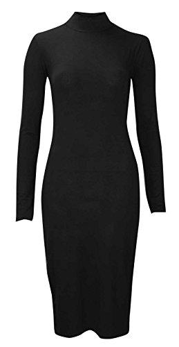 Baleza Femmes Polo Tuttle Cou Inspiré Célébrité Long Robe Mi-longue Moulante Manche Noir