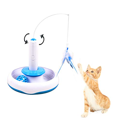 Vealind - Juguete Interactivo Gato Plumas giratorias