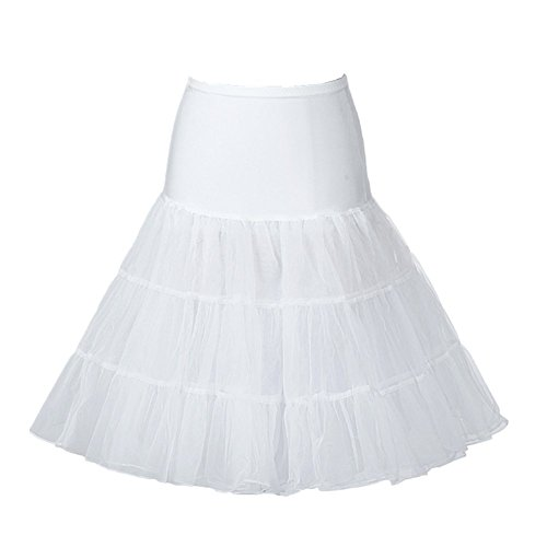 L-Peach Donne 50s Retro Rockabilly Petticoat Vintage Tutu Sottogonna Petticoat Fancy Underskirts Net Gonna Bianco