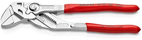 KNIPEX 86 03 180 Zangenschlüssel Zange und Schraubenschlüssel in einem Werkzeug verchromt mit Kunststoff überzogen 180 mm