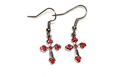 Bijoux Boucles d'oreilles Fashion en acier chirurgical en forme de croix avec zircone pour filles rouge
