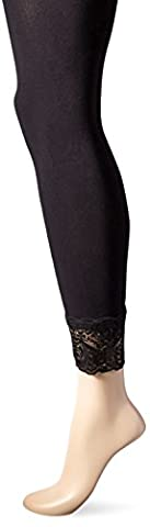 Von Nicole Women's Lace Cuff Footless Tight, Black, Small