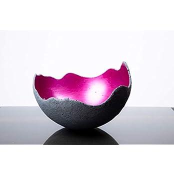 Lichtschale magenta – M (20cm) – Beton schwarz – grau – Unikat handmade – Geburtstagsgeschenk – Einzigartiges Geschenk…