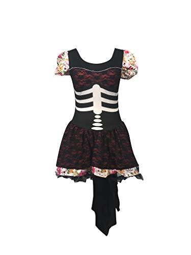 Tag der toten Skeleton Outfit - Enthält Mexikaner-Skelett-Kleid und Fingerlose Handschuhe - Steampunk Kostüm für Halloween oder Parades - hochwertige Materialien - UK Größen 6-14 (Women: 36, ()