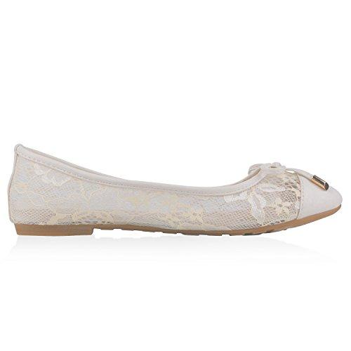napoli-fashion Klassische Damen Ballerinas Leder-Optik Slipper Flats Schuhe Glitzer Metallic Party Abschlussball Hochzeit Jennika Creme Schleife