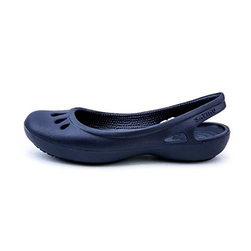 Las Mujeres Jalea Ahuecan hacia Fuera Las Sandalias Planas se deslizaron el Dedo del pie en Slingback Sandal Zapatos Impermeables de Verano Ocasionales