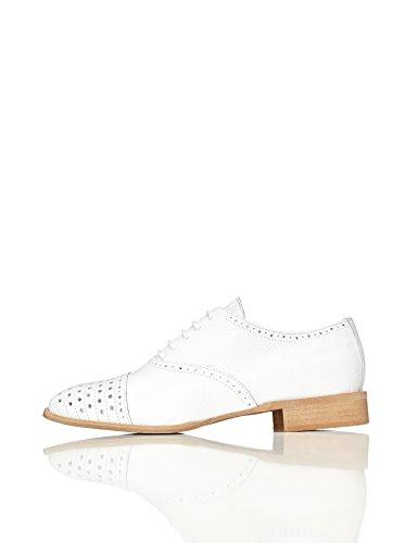 FIND Schuhe Damen aus Leder mit Lochverzierungen, Weiß (White), 40 EU