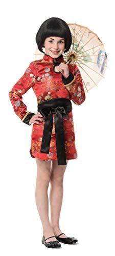 hina Kostüm Mädchen Chinesen Kostüm Kinder Mädchen-Kostüm rot schwarz Größe 140 ()