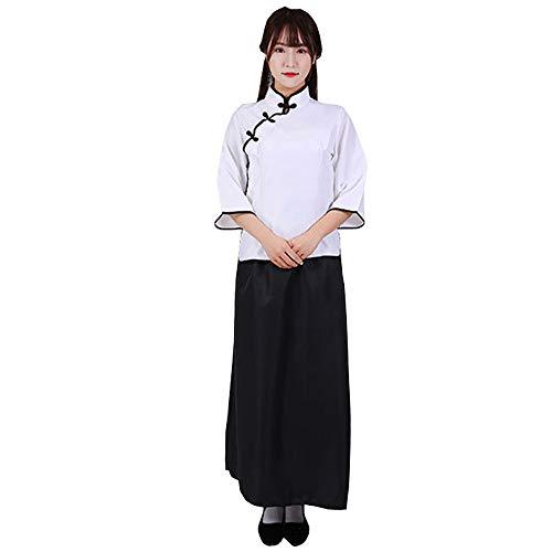 KINDOYO Republik China Retro Kleidung - Retro Stil Mädchen Graduation Class Shooting Performance Kleidung,Weiß Top+Langer Rock,EU 2XL=Tag ()