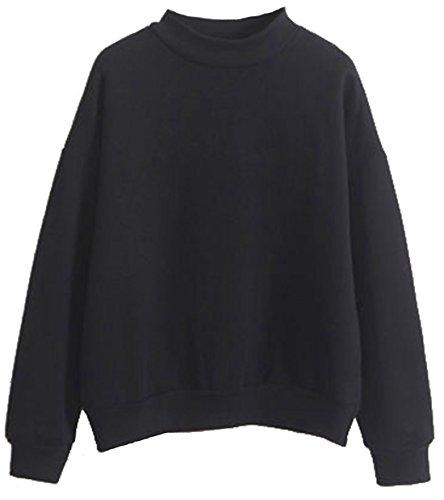 U-Shot Sweat-shirt pour femme à manches longues uni Noir