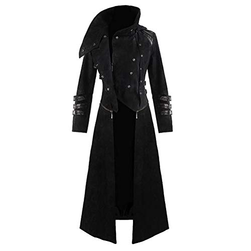 IMJONO Jacket,2019 Neujahrs Karnevalsaktion Mens Gothic Steampunk Hooded Trench Party Kostüm Tailcoat Long Sleeve Jackets(Small,Schwarz)