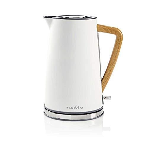 Nedis - Wasserkocher - 1,7 l - 1850 - 2200 W - Soft-Touch - Trockengehschutz - Selbstabschaltung - Verdeckte Heizelement - Strix®-Controller - Wasserstandsanzeige - Antikalk-Filter - Weiß