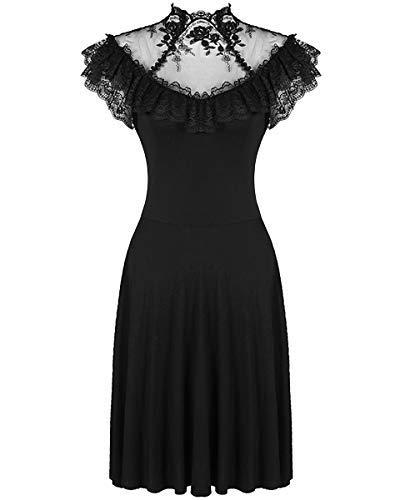 Dark In Love Gothik Kleid Schwarz Blumen Spitze Vintage Steampunk Viktorianisch - Schwarz, S-M - UK Womens Size 8-10 (Schwarze Steampunk Kleid)