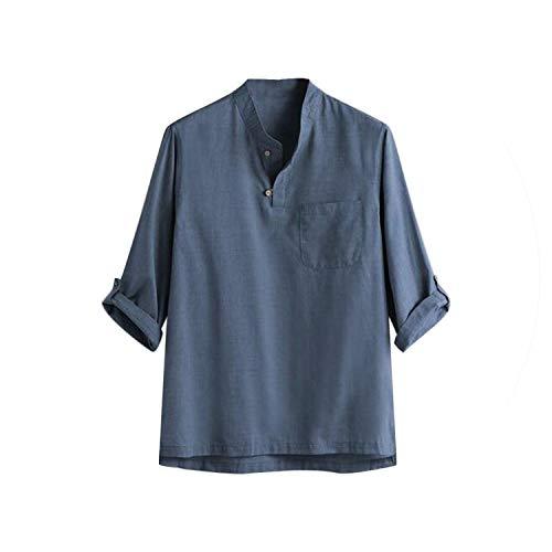 2019 Sommer-Mode Für Männer T-Shirt Moderner Reine Baumwolle Und Hanf Seven Cent Bluse Top T, Blau, XL -