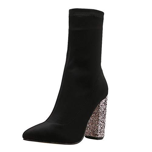 Kalb Hohe Plattform (Zolimx Hochhackige Stiefel Damen Winter Wildleder Elastische Stretch-Starke Ferse-Aufladungs Frauen Stiefel Mittler Kalb Stiefel Hohe Stiefel-Schuhe)