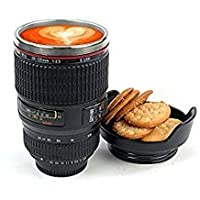 Pink Pari Camera Lens Coffee Mug Flask With Cookie Holder