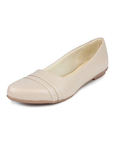 Yahe Women's Casual Faux Leather Cream Bellies 3 UK