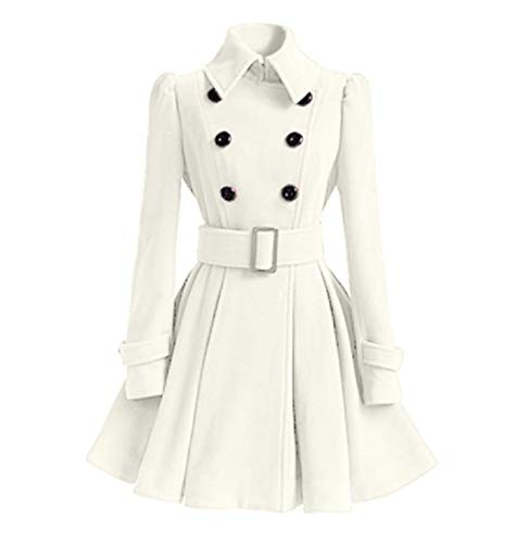CuteRose Women's Fall Winter Oversized Classics Wool Belted Duffle Coat White XS Breasted Belted Wool Coat