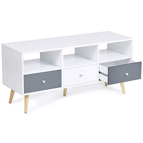 IDMarket - Meuble TV Effie scandinave 3 tiroirs bois blanc et gris
