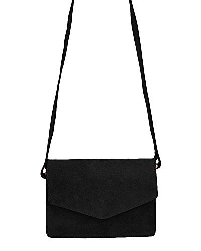 0f2697a1a1aa2 ... ImiLoa Ledertasche klein schwarz braun blau grau Lederhandtasche  Umhängetasche echt Leder Tasche Wildleder Handtasche Schwarz ...