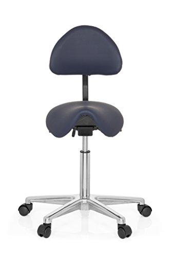 hjh OFFICE Sattel-Hocker Arbeits-Stuhl TOP Work 20 blau Industriestoff-Bezug, robust verarbeitet, Praxisstuhl 77-105 x 63 x 45 cm - Sattel-hocker Rückenlehne Mit