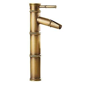 Retro Waterfall – Grifo para lavabo de bambú (latón)