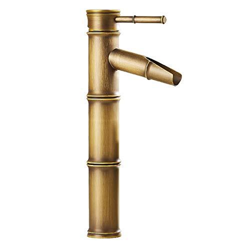 Bambus Wasserfall (Retro Wasserfall Bambus Design Waschbecken Wasserhahn Waschbecken Wasserhahn Messing Wasserhahn)