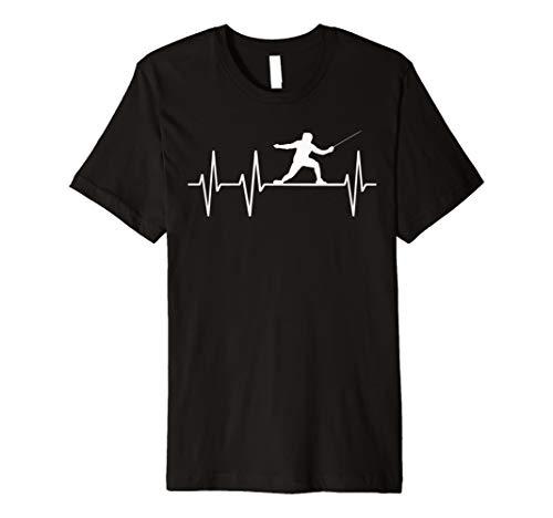 Fechten Fechtsport Heartbeat Herzschlag T-Shirt Geschenk