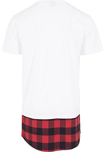 Urban Classics Herren Langarmshirt T-Shirt Shaped Flanell Bottom Tee Wht/Blk/Red